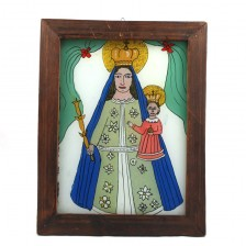 Mother of God with Jesus Child - glass painting